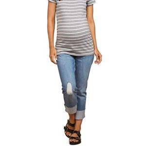 Indigo Blue Maternity Distressed Crop/Ankle Jeans